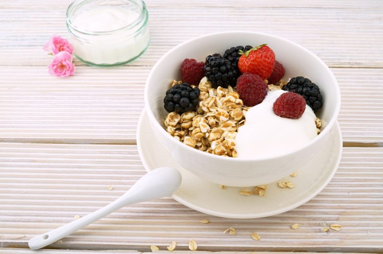 Cereal and fruits